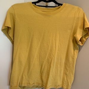 yellow cropped urban outfitters t shirt